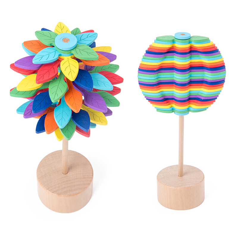Wood Leaves Spinning Lollipop Rotary Relief Bar Toys Magic Stress Relief Toy For Adults Children Gift For Office Home Decoration