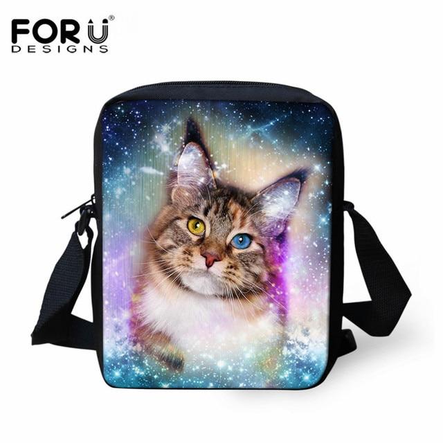 95bf8ae41494 FORUDESIGNS Galaxy Star Animal Printing School Bag for Boys Girls Cat Dog  Pattern Mini Crossbody Bag Kids Small Messenger Bags