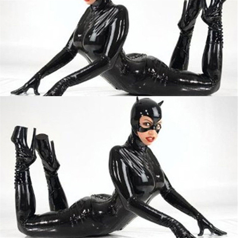Abbille 2018 Adult Women Black PU Patent Leather Catsuit Sexy Catwoman Costume Cat Mask Latex Bodysuit Stretchable Open Crotch
