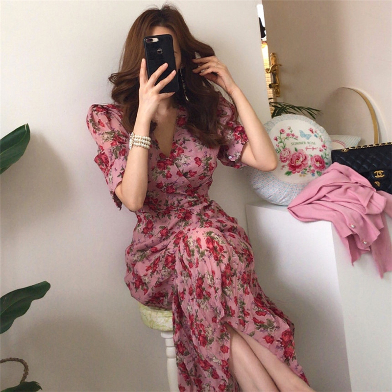 BGTEEVER Vintage V-neck Ruched Summer Dress Women Slim Waist Floral Print Long Dress Elegant Summer Short Sleeve Female Vestidos