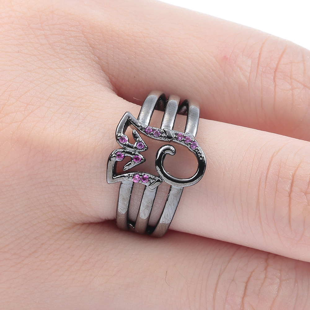 vintage red stone black gun promise Rings fashion jewelry princess ...