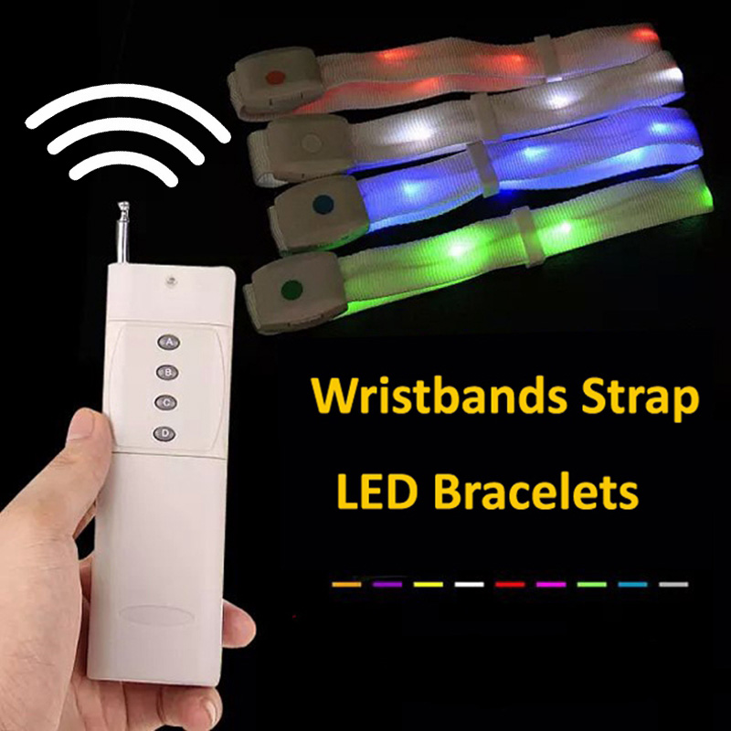 Nylon Remote Control Led Bracelet Glowing Wristbands Strap For Party Concert Party Event Christmas Free Ship 150pcs/lot