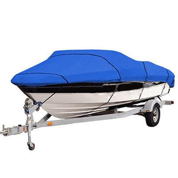 "Boat Cover 14/'15/'16/' beam-90/"" Heavy Duty Trailerable Fish-Ski V-Hull 210D Blue"