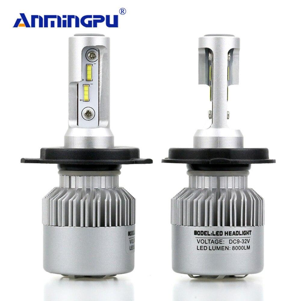ANMINGPU 2017 16000lm/par bombillas H7 H4 LED H8 H11 HB3/9005 HB4/9006 H1 H3 9012 H13 9004 9007 72 W Auto bombilla Coche