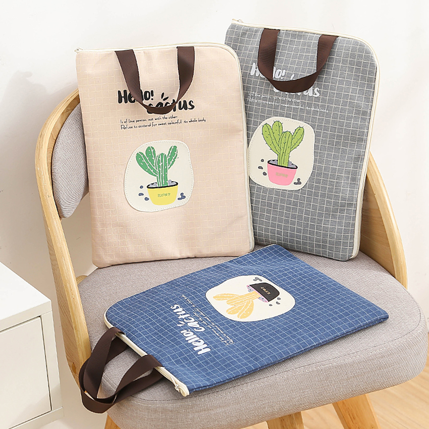 Cute File Folder Bag Zipper Canvas Handbag Students Stationery Office Supplies Cactus Girls Boys Bag Document Paper Organization