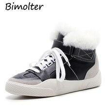 Bimolter New Fashion Woman Genuine Leather Casual Sneakers Fur Winter Warm Female Tenis Feminino Light Soft Sole Shoes LFEA027