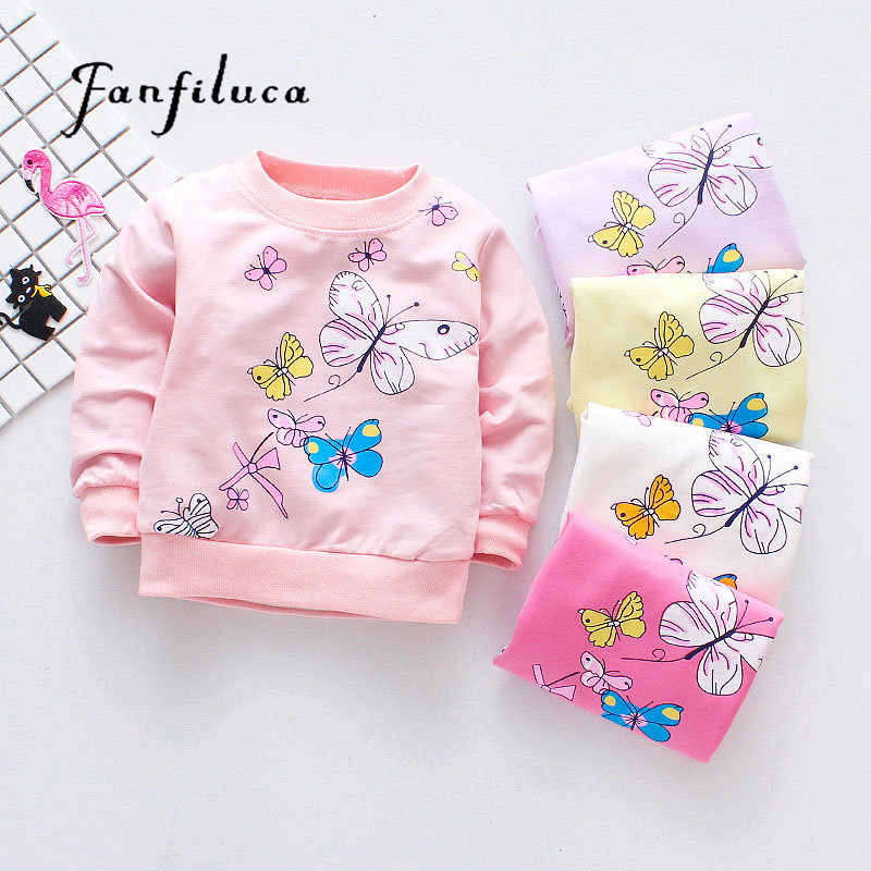 Fanfiluca Cute Butterfly Girls T-Shirts Cotton Tees Baby Girls Long Sleeve T-Shirt Sport Shirts Baby Clothes Spring Style gt1544v 753420 turbo cartridge 0375j6 turbo cartridge 0375j8 turbo chra for bmw mini cooper d citroen berlingo 1 6 hdi fap
