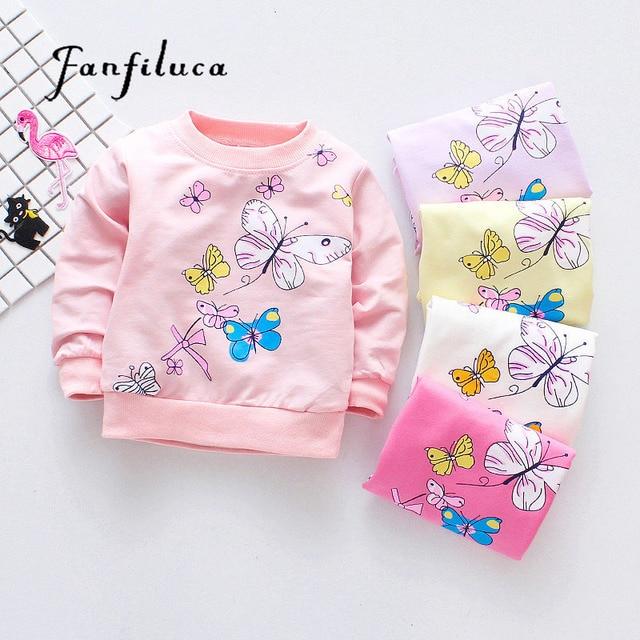 3cefeaa2c Fanfiluca Cute Butterfly Girls T Shirts Cotton Tees Baby Girls Long ...