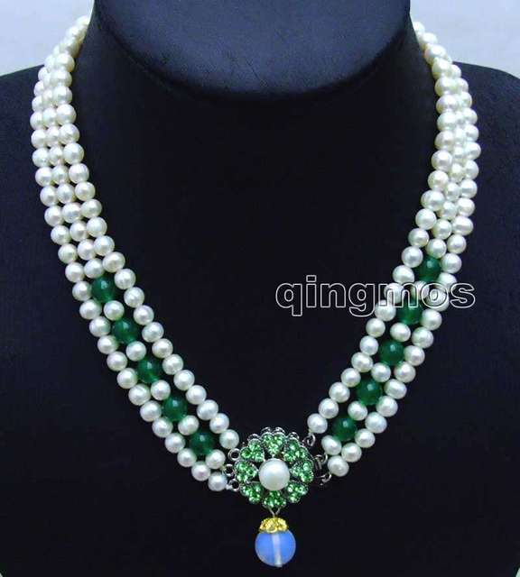 "6-7mm White Round Natural FW pearl and Green Jade 3 strands 18-19"" necklace & Opal prndant-ne6104 wholesale/retail Free shipping"