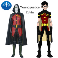 Лига Справедливости Робин Косплэй костюм Для мужчин взрослых костюм форма + маска для глаз + перчатки установить Хеллоуин костюм для взросл