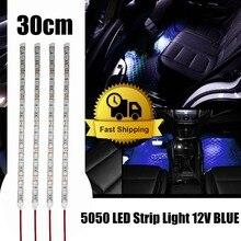 Водонепроницаемый 12 В светодио дный автомобилей Караван полосы света 5050 RGB синий и красный цвета зеленый теплый белый диод лента светодио дный лампа домашнего праздника украшения 30 см