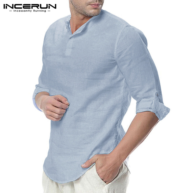 INCERUN Men Shirt Long-Sleeve Leisure Plus-Size Casual Cotton Fashion Solid Pullovers