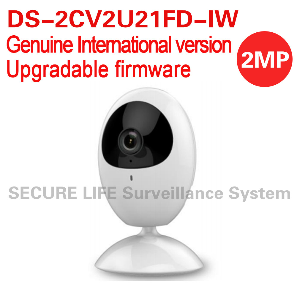 Free shipping English version DS-2CV2U21FD-IW 2MP mini cube CCTV security Camera wifi, built-in mic speaker two-way audio 10M IR power cube mini pcm 2 1 8m black