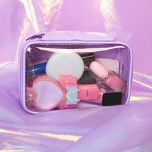 Pink Purple Square Cosmetic  storage box Bag Transparent Teenage Large Capacity Storage Box Stationery