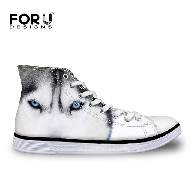 FORUDESIGNS 3D Animal Blanco Perro Husky Lobo Impresa de Las Mujeres High Top Zapatos de Lona Ocasionales Mujer Hasta Encaje Vulcanizan Los Zapatos Transpirables