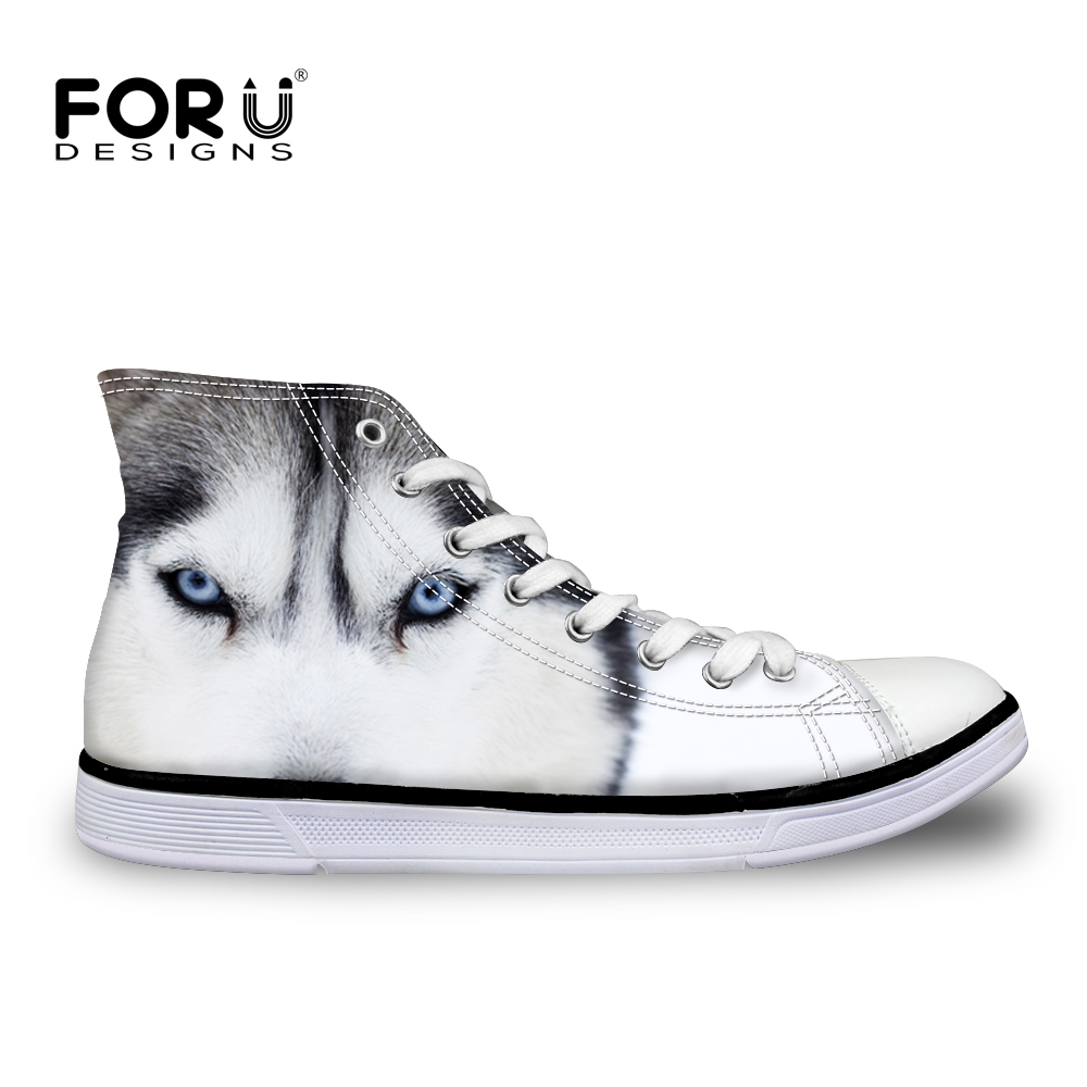FORUDESIGNS 3D Animal White Wolf Impreso Mujeres High Top Zapatos de Lona Casual Perro Husky Mujer Lace Up Vulcanize Zapatos Transpirable