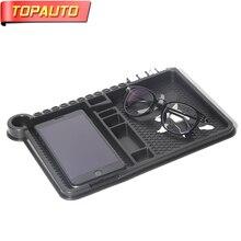 TopAuto Car Anti Slip Pad Car Temporary Parking Lisense Car Multifunctional Dashboard Storage Mat Auto Styling Accessories