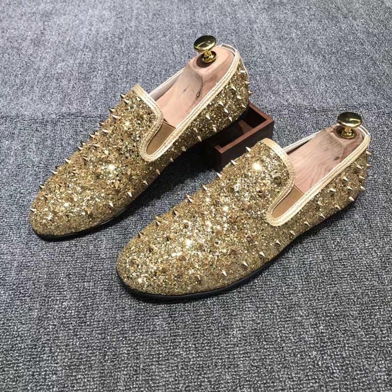 Se Mocassins Baile Finalistas Zapatos Vestem Rebites De Dourado ouro Homb vermelho Sapatos Handmade Do Cores Da Casamento Partido Preto Casual Homens 3 Colors2018 Moda Flats q40Tvpw