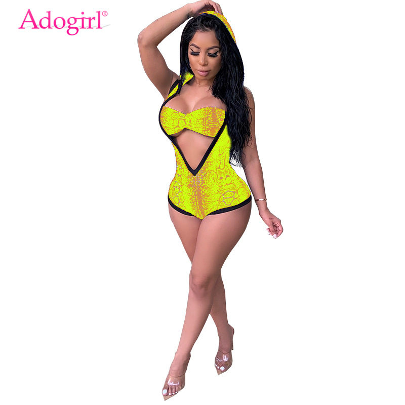 Adogirl Snakeskin Print Women Sexy Two Piece Set Deep V Neck Sleeveless Hooded Bodysuit + Bra Night Club Outfits Bathing Suits