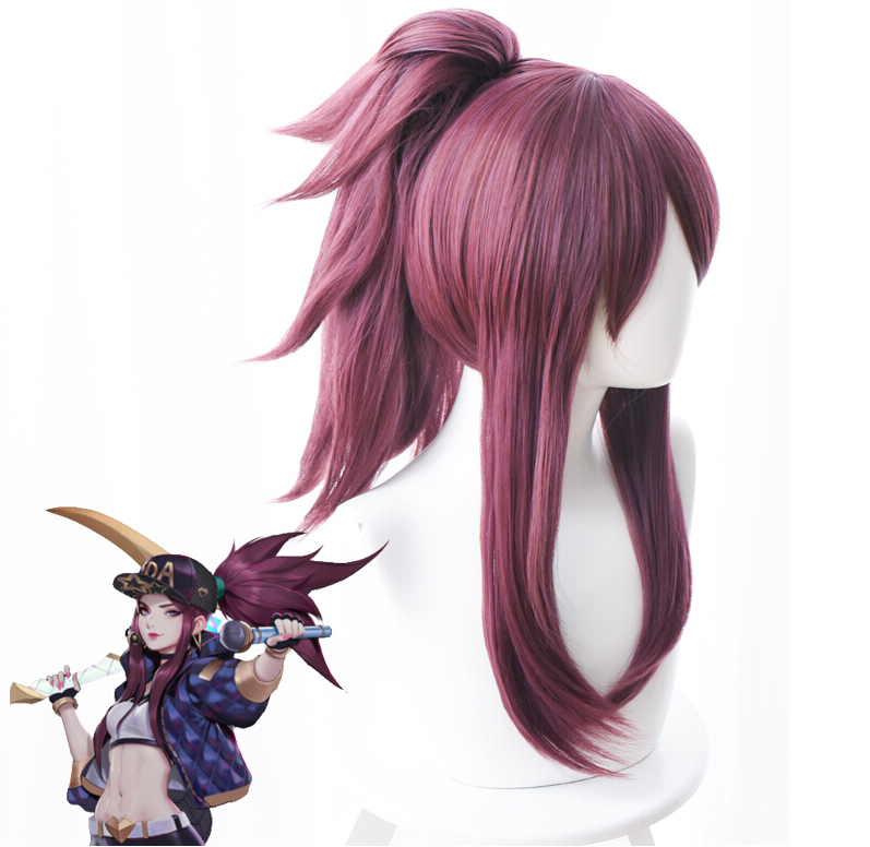 New Wig LOL Cosplay K/DA Akali Wig The Rogue Assassin Akali Wig Mixed Purple Hair Halloween Carnival Wigs Props