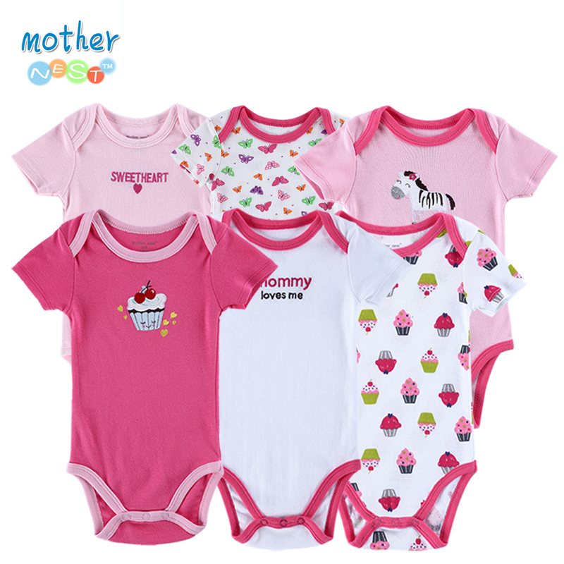 6 Pieces/lot Roupas Baby   Romper   Baby Body Short Sleeve 100% Cotton Cartoon Style Newborn Boy Girl's Jumpsuit Baby Clothing