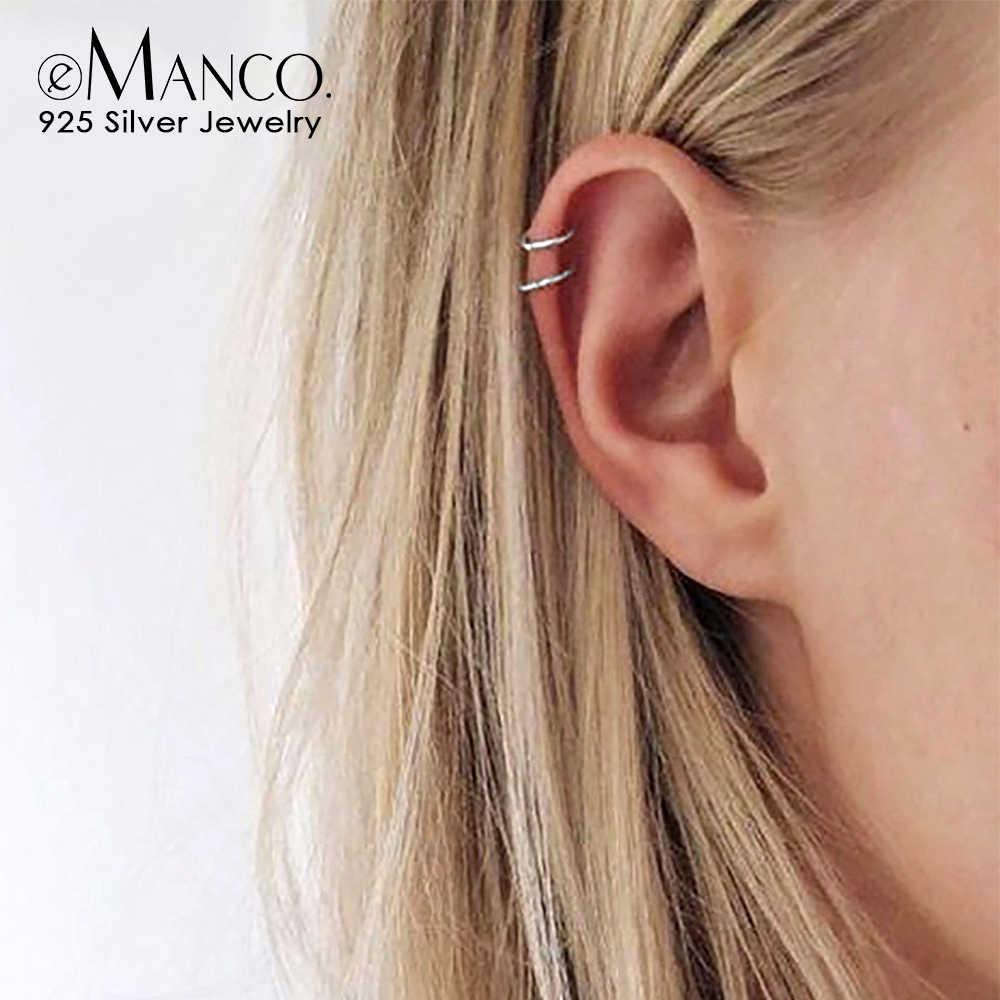 E-Manco925 เงินสเตอร์ลิงต่างหูโดยไม่ต้องเจาะ Punk Minimalist ชั้นต่างหู Vintage เครื่องประดับสำหรับ Unisex
