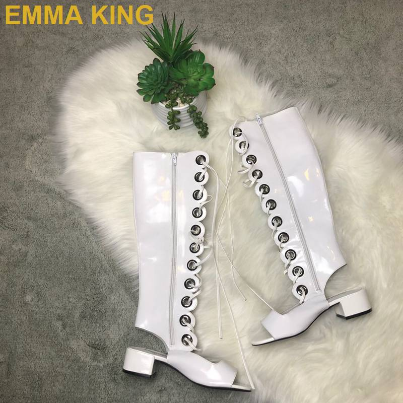 Croix Été tied Talon Femmes Haute Blanc Longueur Genou Bout À Bottes Évider Mode Ouvert Carré Chaussures De Femme Sandales 5tqCwRx