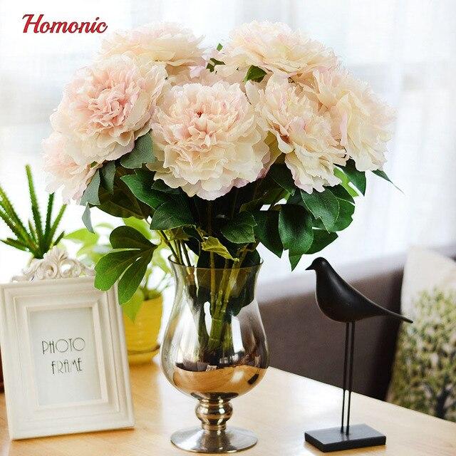 Flores artificiales de seda de flores de otoño europeo vivid 5 grandes cabezas peony fake hoja casera wedding del partido decoración