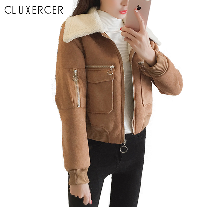 Winter Jacket Women Lapel   Suede     Leather   Buckle Cool Pilot Jacket Faux Lamb Wool Motorcycle Jackets Coat Women Chaqueta Mujer