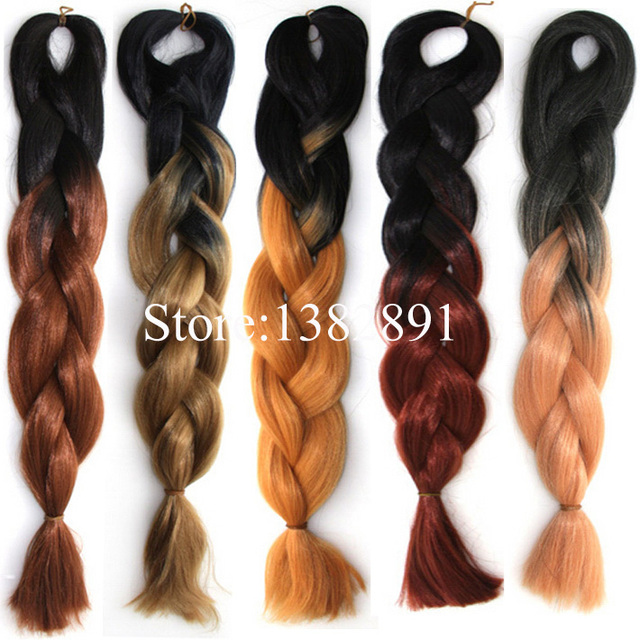 5pcs 24 Twotone Black To Light Yellow Dark Brown Ombre Braiding Hair