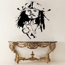 Captain Jack Sparrow Head Cool Wall Decal Poster Vinyl Wall Mural Sticker Pirates Home Bedroom Art Decoration Removable DIY