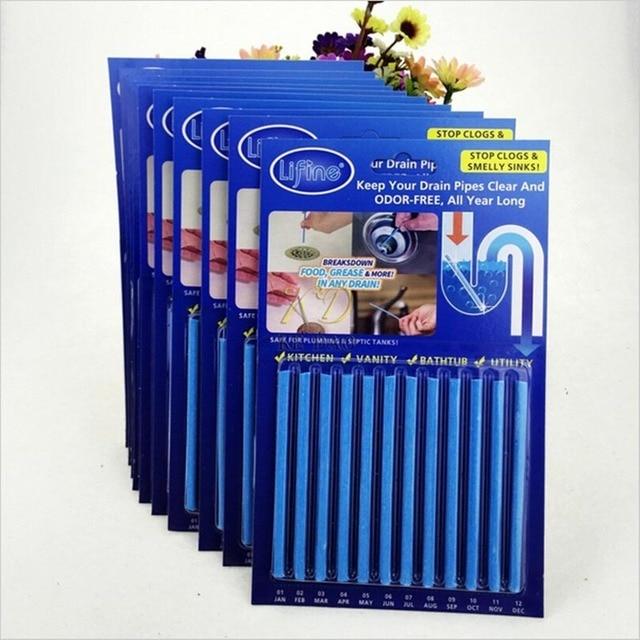 12 Pz/set Cleaing Sticks Pulitore di Scarico Fognario Asta di Pulizia Pulizia De