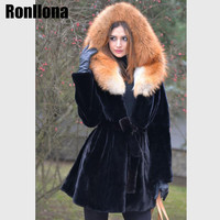 2018 New Real Skin Rex Rabbit Fur Coat With Big Red Fox Fur Hood Thicken Warm Winter Jacket With Real Fur Women Down Coat RB 004