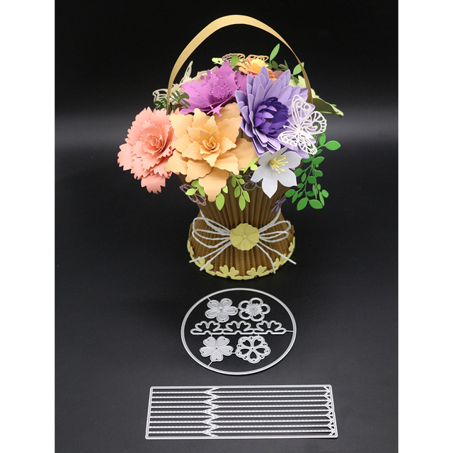 Beautiful Flower Basket Craft Cutting Dies Diy Embossing Arrange