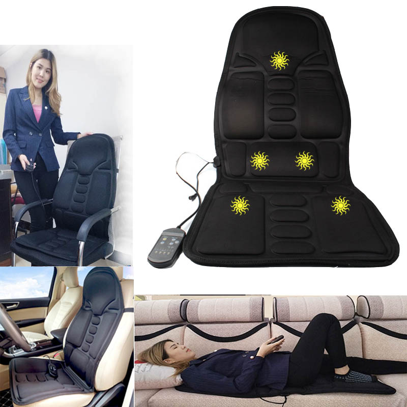 FREE SHIPPING Electric Portable Heating Vibrating Back Massager Cushion for Car Home Office EPM3 back