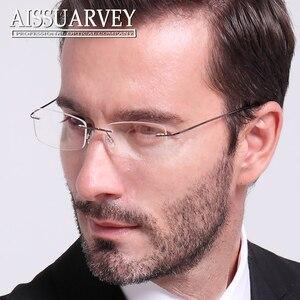 Image 3 - סיטונאי 10 יח\חבילה גברים משקפיים מסגרות ללא שפה משקפיים אופטי מרשם טיטניום סגסוגת אור משקפי עסקי זול