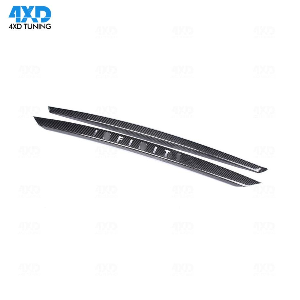 Q50 Rear Trunk trim For Infiniti Q50S Dry Carbon Fiber Rear Bumper Trunk Plate Trim Cover