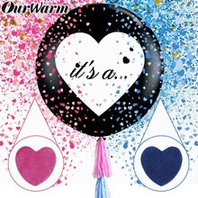 OurWarm Gender Reveal Balloon Black Girl or Boy letter Latex with Confetti Birthday for Baby Shower Party