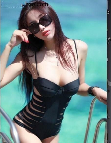 One piece swimwear 2016 Women's Sexy Black Push-up Cut Out Padded Hollow Monokini Swimsuit Women Swim suit Beachwear fashionable strappy printed cut out one piece swimsuit for women