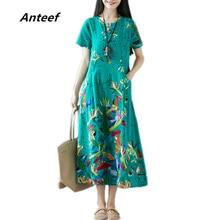 red yellow cotton linen plus size vintage floral women casual loose long summer dress elegant vestidos clothes 2019 dresses