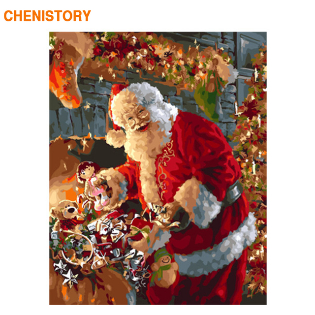CHENISTORY Frame Christmas Picture DIY Painting By Numbers Modern Wall Art Picture Acrylic Paint By Numbers Santa Claus 60x75cm