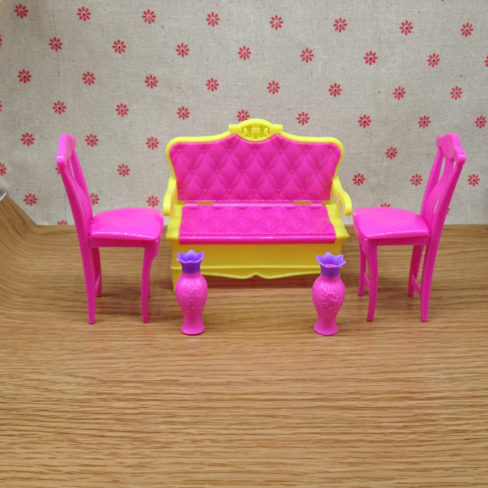 Hot Sale House Funiture Accessories For Barbie Doll Sofa Vase Chair Sets Girls Dream Good Gift
