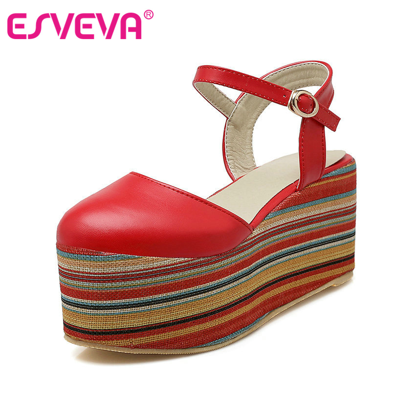 ФОТО ESVEVA Red Wedges High heels Women Sandals Buckle Strap Pu Soft Leather Mixed Color Platform Summer Lady Shoes Size 34-43 Red