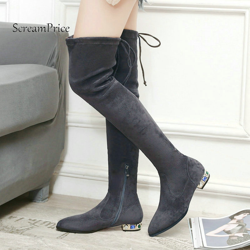 Woman Comfort Low Sqaure Heel Side Zipper Suede Over The Knee Stretch Boots Fashion Pointed Toe Thigh Boots Black Gray