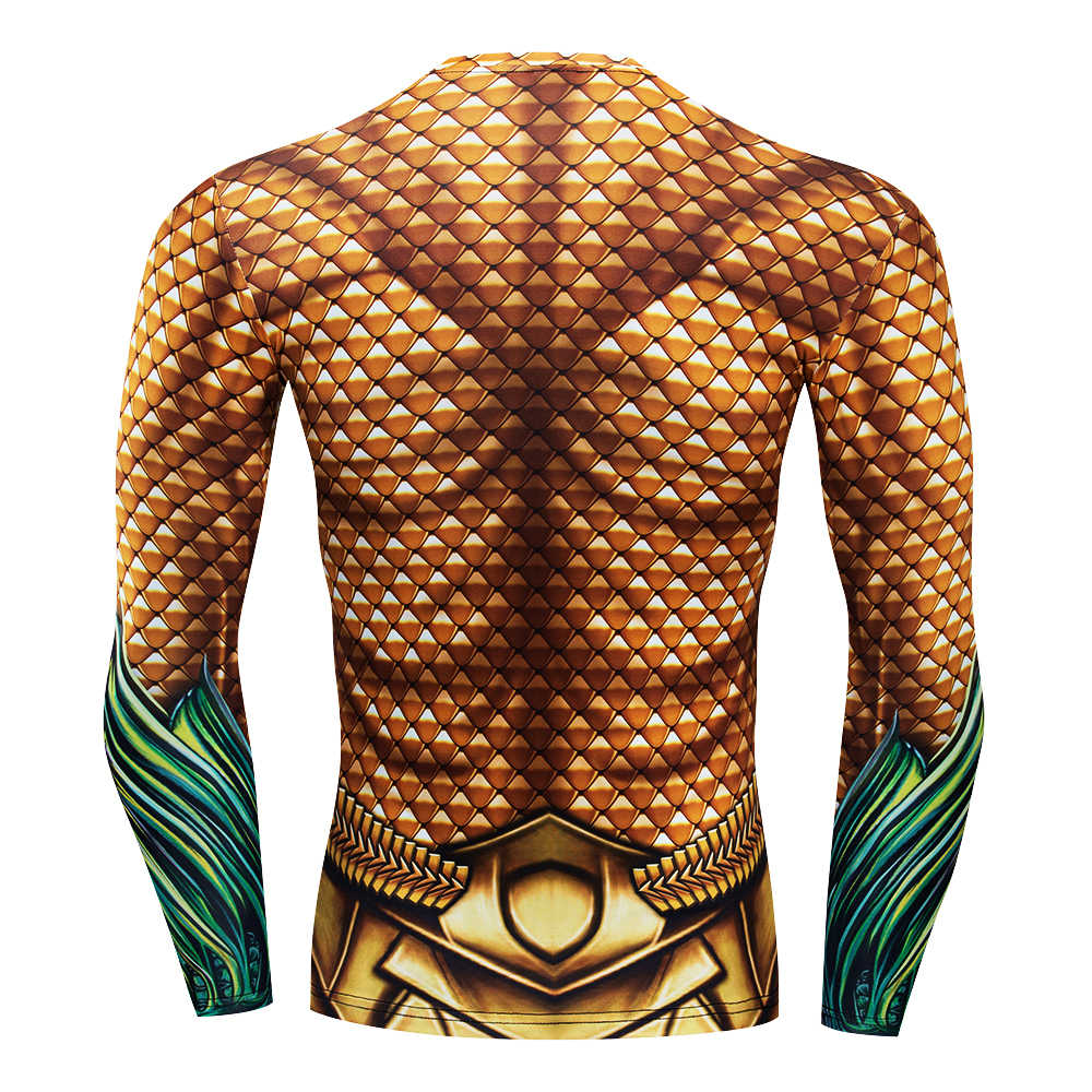Брендовая компрессионная футболка Aquaman, мужские стильные футболки с 3d принтом «Человек-паук», «Капитан Супермен», shazam, Мужская забавная модная футболка для фитнеса