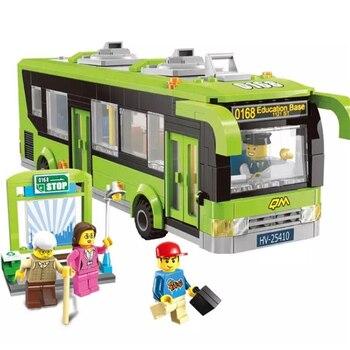 啓発市交通バスステーション車ビルディングブロックレンガモデルの子供のおもちゃ子供の互換 Legoings 少女の友人