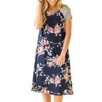 ELSVIOS Summer Floral Printed Loose A-Line Dress Women O Neck Short Sleeve Patchwork Dresses Casual Sundress Female Vestidos 3