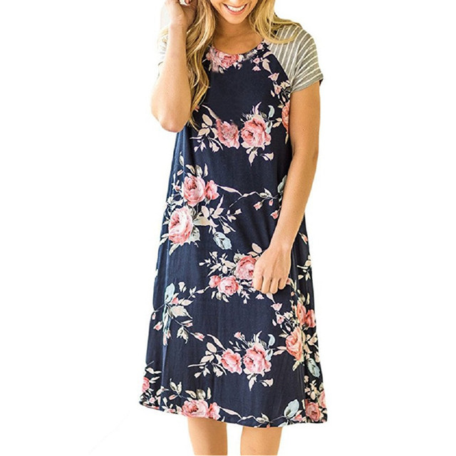 ELSVIOS Summer Floral Printed Loose A-Line Dress Women O Neck Short Sleeve Patchwork Dresses Casual Sundress Female Vestidos 3