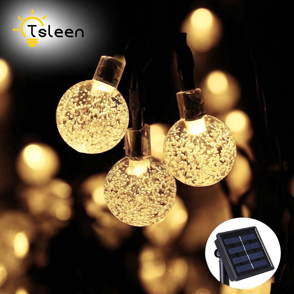 Cheap Fairy lights Solar LED Waterproof Fairy Crystal Ball String Lights Decorative Xmas Party Christmas Tree Decors Warm White