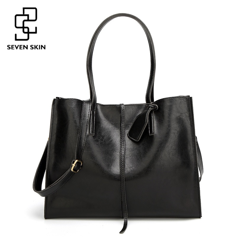 SEVEN SKIN Brand Women Large Tote Bags Solid Leather Shoulder Bags Women Bags Designer 2017 Casual